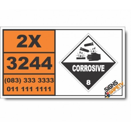 UN3244 Solids containing corrosive liquid, n.o.s., Corrosive (8), Hazchem Placard