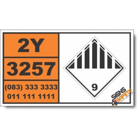UN3257 Elevated temperature liquid, n.o.s., Other (9), Hazchem Placard