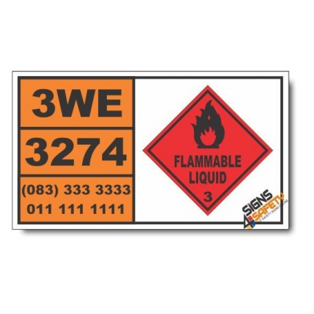UN3274 Alcoholates solution, n.o.s., in alcohol, Flammable Liquid (3), Hazchem Placard