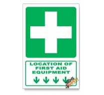 (GA1/D1) First Aid Equipment Sign, Arrow Down, Descriptive Safety Sign
