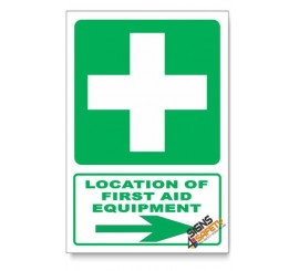 (GA1/D2) First Aid Equipment Sign, Arrow Right, Descriptive Safety Sign