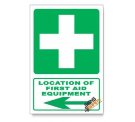 (GA1/D3) First Aid Equipment Sign, Arrow Left, Descriptive Safety Sign