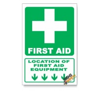 (GA1B/D1) First Aid Equipment Sign, Arrow Down, Descriptive Safety Sign