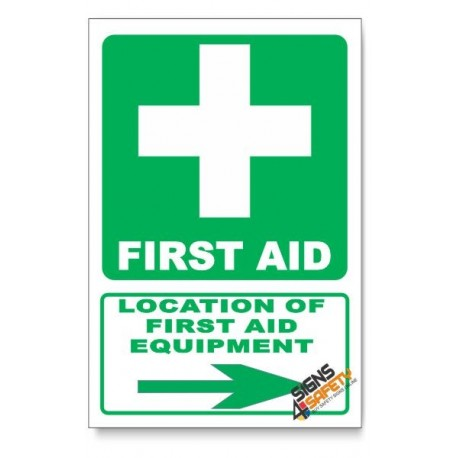 (GA1B/D2) First Aid Equipment Sign, Arrow Right, Descriptive Safety Sign