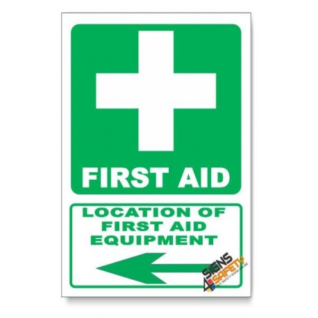 (GA1B/D3) First Aid Equipment Sign, Arrow Left, Descriptive Safety Sign