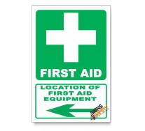 (GA1B/D3) First Aid Equipment Sign, Arrow Left, Descriptive Safety Sign