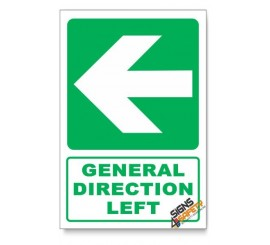 (GA2B/D3) General Direction Sign, Arrow Left, Descriptive Safety Sign