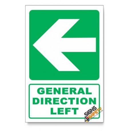 (GA2B/D3) General Direction Sign, Arrow Left, Descriptive Safety Sign