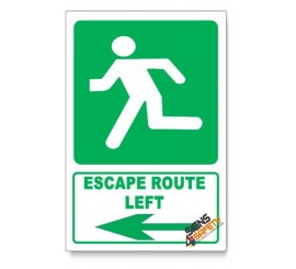 (GA3/D1) Escape Route Left Sign, Descriptive Safety Sign