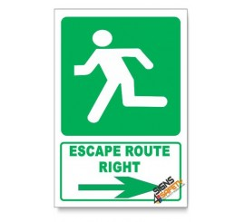 (GA4/D1) Escape Route Right Sign, Descriptive Safety Sign