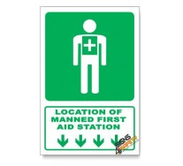 (GA5/D1) Manned First Aid Station Sign, Arrow Down, Descriptive Safety Sign