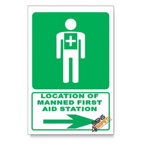 (GA5/D2) Manned First Aid Station Sign, Arrow Right, Descriptive Safety Sign