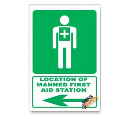 (GA5/D3) Manned First Aid Station Sign, Arrow Left, Descriptive Safety Sign