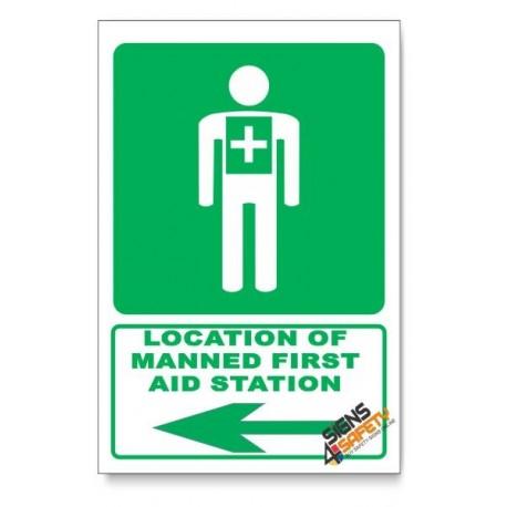 (GA5/D3) Manned First Aid Station Sign, Arrow Left, Descriptive Safety Sign
