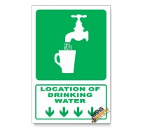 (GA6/D1) Drinking Water Sign, Arrow Down, Descriptive Safety Sign