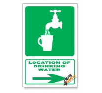 (GA6/D2) Drinking Water Sign, Arrow Right, Descriptive Safety Sign
