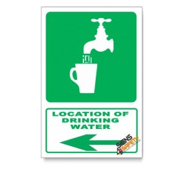 (GA6/D3) Drinking Water Sign, Arrow Left, Descriptive Safety Sign