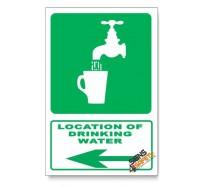 (GA6/D3) Drinking Water Sign, Arrow Left, Descriptive Safety Sign