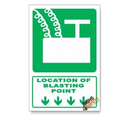 (GA7/D1) Blasting Point Sign, Arrow Down, Descriptive Safety Sign