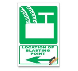 (GA7/D3) Blasting Point Sign, Arrow Left, Descriptive Safety Sign