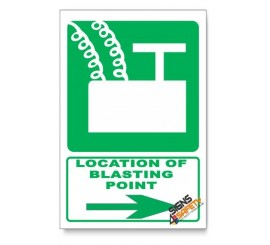 (GA7/D2) Blasting Point Sign, Arrow Right, Descriptive Safety Sign