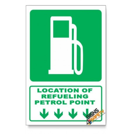 (GA9/D1) Refeuling / Petrol Point Sign, Arrow Down, Descriptive Safety Sign