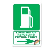 (GA9/D2) Refeuling / Petrol Point Sign, Arrow Right, Descriptive Safety Sign