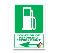 (GA9/D3) Refeuling / Petrol Point Sign, Arrow Left, Descriptive Safety Sign