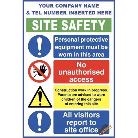 (C68) Construction Site Safety / Construction Site Rules / Personal Protective Equipment Mandatory Sign