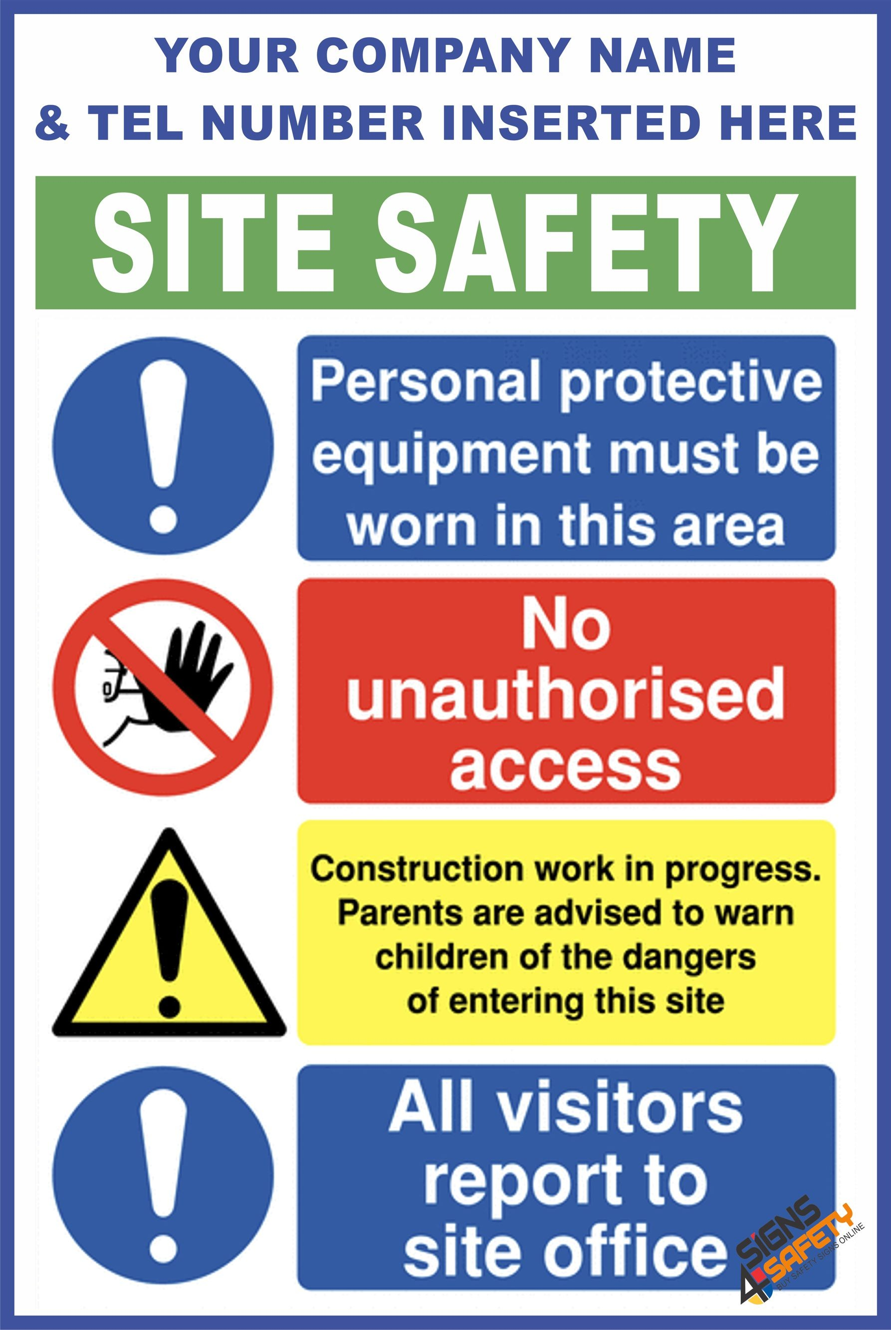 Nosa / SABS (C68) Construction Site Safety / Construction Site Rules /  Personal Protective Equipment Mandatory Sign
