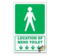 (GA11/D1) Mens Toilet Sign, Arrow Down, Descriptive Safety Sign