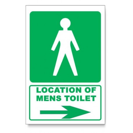 (GA11/D2) Mens Toilet Sign, Arrow Right, Descriptive Safety Sign