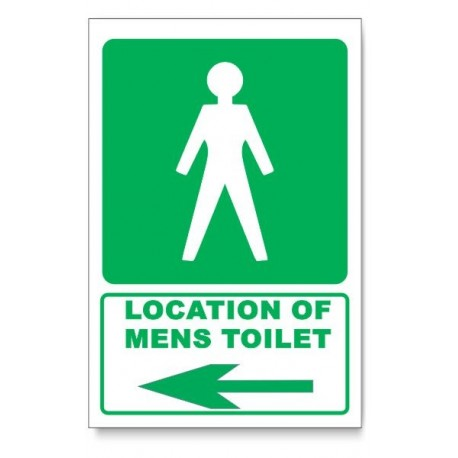 (GA11/D3) Mens Toilet Sign, Arrow Left, Descriptive Safety Sign