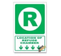 (GA12/D1) Refuge Chamber Sign, Arrow Down, Descriptive Safety Sign