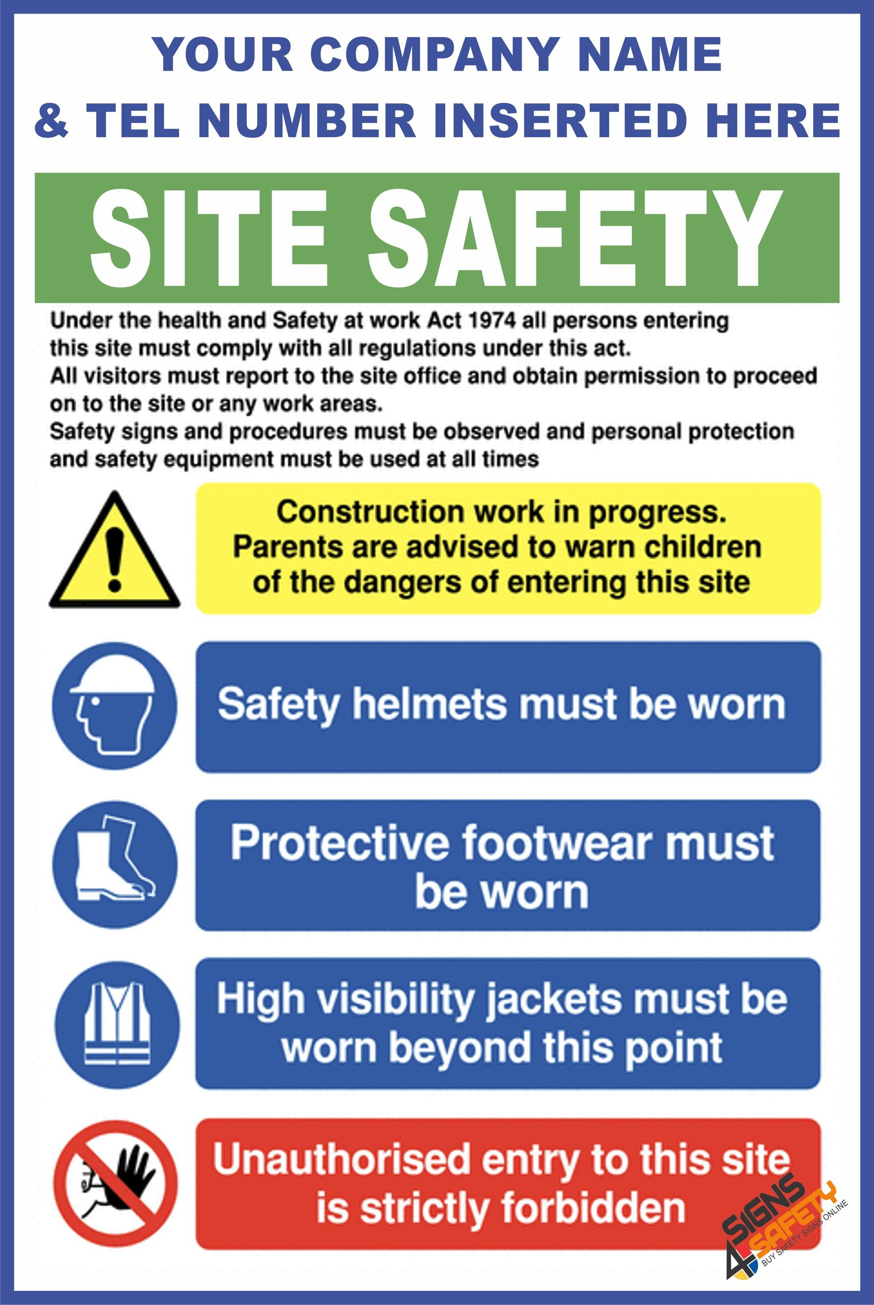 Nosa / SABS (C72) Construction Site Safety / Construction Site Rules /  Personal Protective Equipment Mandatory Sign