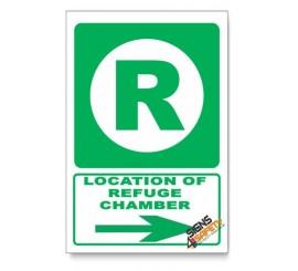 (GA12/D2) Refuge Chamber Sign, Arrow Right, Descriptive Safety Sign