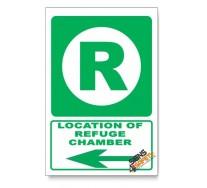 (GA12/D3) Refuge Chamber Sign, Arrow Left, Descriptive Safety Sign