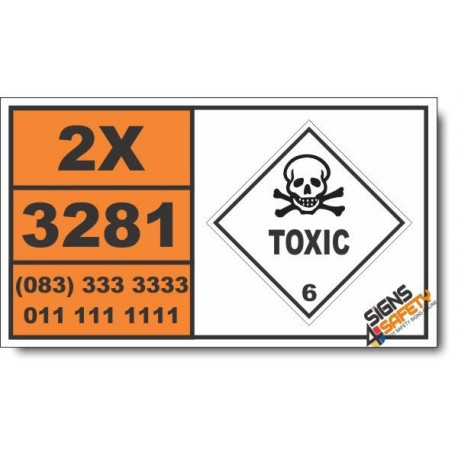 UN3281 Metal carbonyls, liquid, n.o.s., Toxic (6), Hazchem Placard