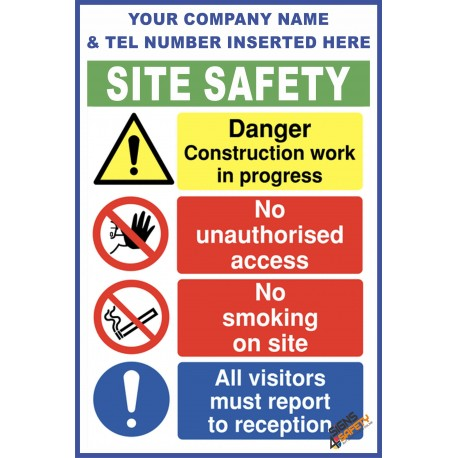 (C75) Construction Site Safety / Construction Site Rules / Personal Protective Equipment Mandatory Sign