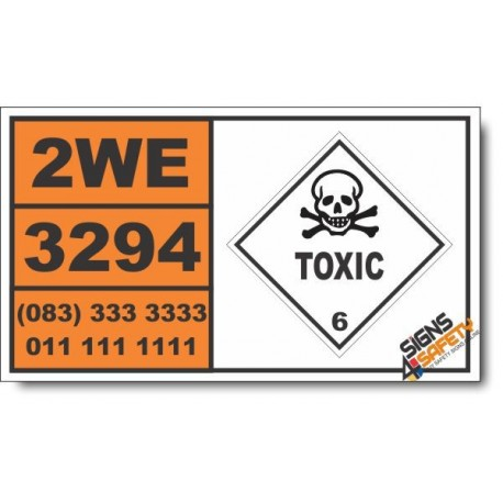 UN3294 Hydrogen cyanide, solution in alcohol with not more than 45 percent hydrogen cyanide, Toxic (6), Hazchem Placard