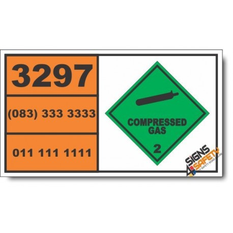 UN3297 Ethylene oxide, Compressed Gas (2), Hazchem Placard