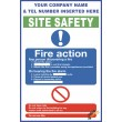 (C76) Construction Site Safety / Fire Action Sign