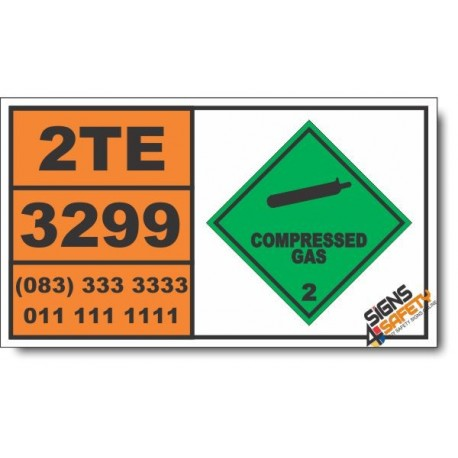 UN3299 Ethylene oxide and tetrafluoroethane mixture, Compressed Gas (2), Hazchem Placard