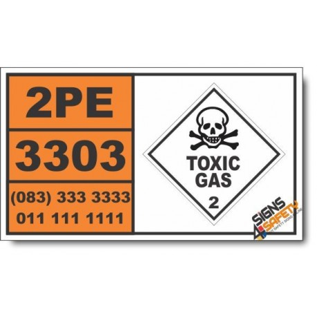 UN3303 Compressed gas, toxic, oxidizing, n.o.s. Inhalation Hazard Zone A, Toxic Gas (2), Hazchem Placard