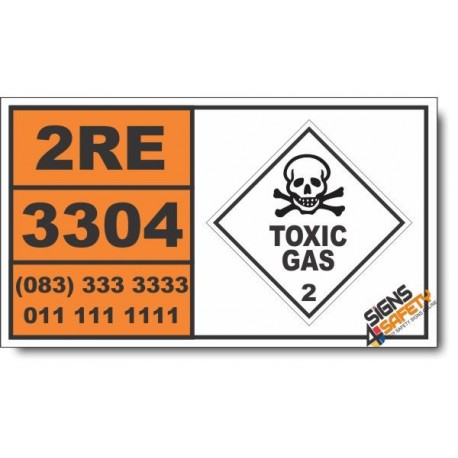 UN3304 Compressed gas, toxic, corrosive, n.o.s. Inhalation Hazard Zone A, Toxic Gas (2), Hazchem Placard