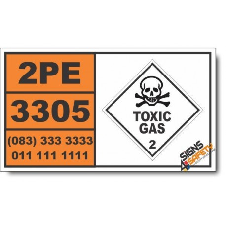 UN3305 Compressed gas, toxic, flammable, corrosive, n.o.s. Inhalation Hazard Zone A, Toxic Gas (2), Hazchem Placard