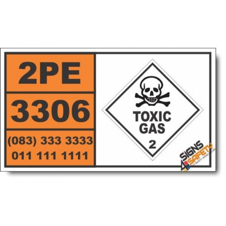 UN3306 Compressed gas, toxic, oxdizing, corrosive, n.o.s. Inhalation Hazard Zone A, Toxic Gas (2), Hazchem Placard