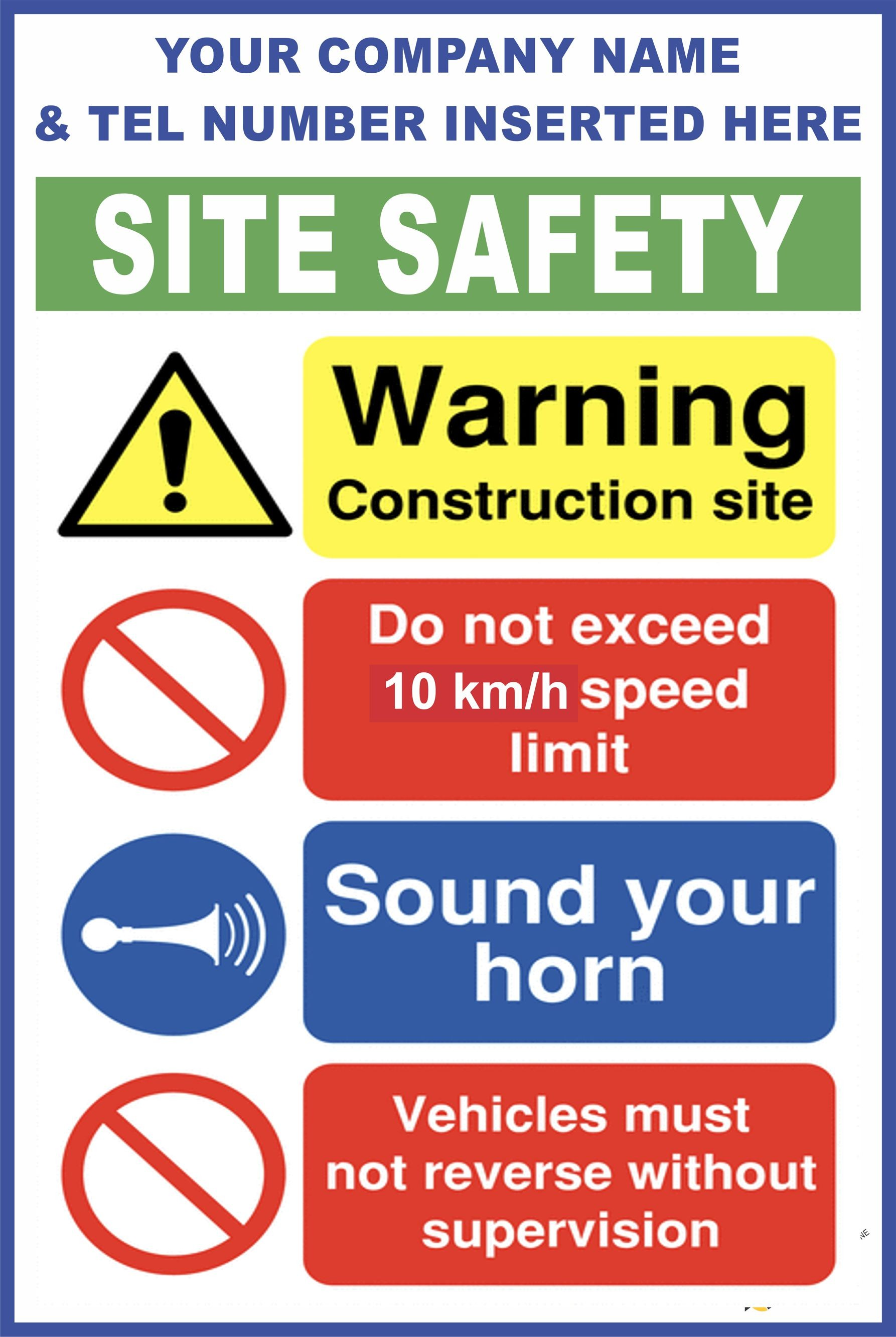 c78 construction site safety vehicle on site rules sign