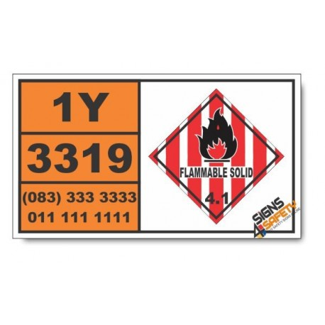 UN3319 Nitroglycerin mixture, desensitized, solid, n.o.s., Flammable Solid (4), Hazchem Placard