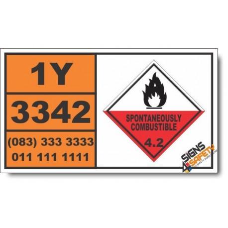 UN3342 Xanthates, Spontaneously Combustible (4), Hazchem Placard